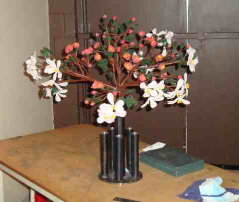 Apple Blossum Centerpiece in holder