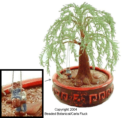 Beaded Flowers - Weeping Willow Bonsai